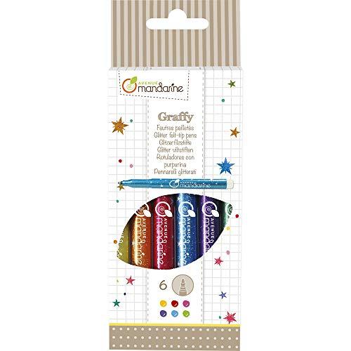 Avenue Mandarine CC029O Packung mit 6 Glitzerfilzstiften, ideal für Bastelprojekte, abwaschbar, mit Glitter, 1 Pack