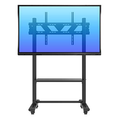 Supporto TV, Staffa Porta TV Carrello TV con supporto per carrello a rotelle con vano portaoggetti, carrello mobile nero girevole per TV a schermo piatto OLED al plasma   LCD   LED da 55  - 85 , capac