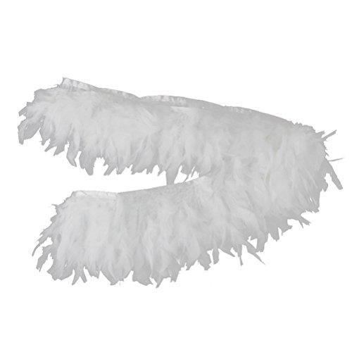 ULTNICE Handgefertigte Feather Fringe Trim für Nähen Handwerk Dekoration (weiß)