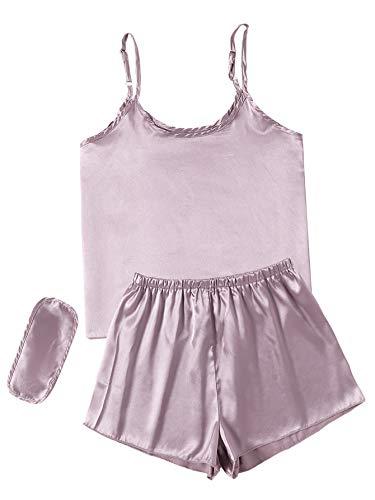 LYANER Women's Pajamas Set Satin Cami Top and Short with Sleep Mask Sleepwear PJ Plain Light Lavender Large