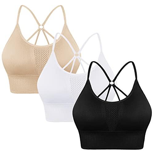 Sykooria Sujetador Deportivo para Mujer con Almohadillas Extraíbles Sujetador Deportivo Mujer para Running Yoga Fitness Ejercicio,Negro+Blanco+Beige,XL
