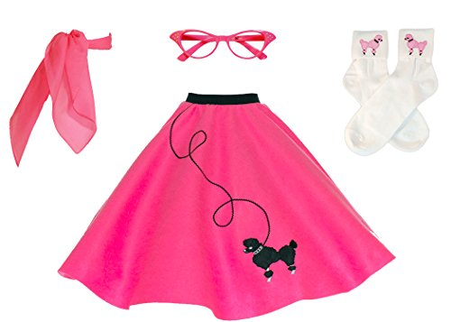 Hip Hop 50s Shop Adult 4 Piece Poodle Skirt Costume Set Hot Pink XSmall Small