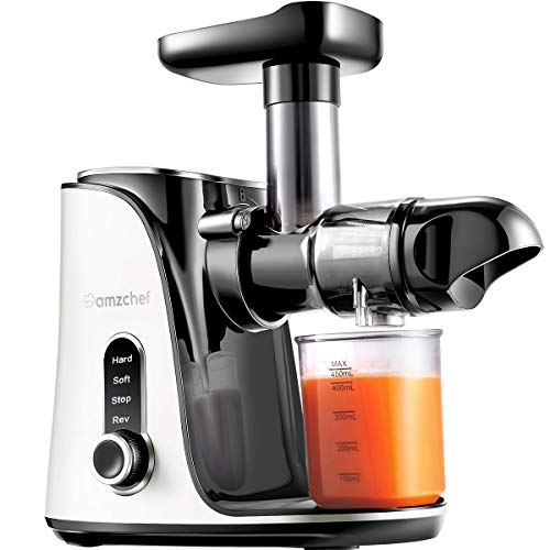 AMZCHEF Entsafter Slow Juicer leistungsstarker Entsafter für Obst und Gemüse mit 2 Geschwindigkeitsmodi, 2 Reiseflaschen (500 ml), LED-Anzeige, Reinigungsbürste und Ruhiger Motor,Weiß