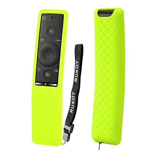 Rukoy Protecitve Case Cover Holder for Samsung Smart TV Remote Controller of BN59 Series, Kids-Friendly Anti-Slip Shockproof Anti-Lost with Hand Strap(Green)