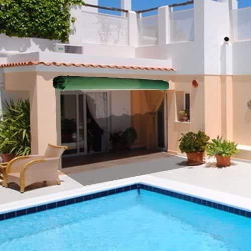 Toldo retráctil manual para patio, color verde y blanco con accesorios y mango de manivela, nombre de tamaño: 3 x 2,5 m, nombre de color: toldo (color: cubierta verde para la lluvia, tamaño: 3 x 2,5 m)