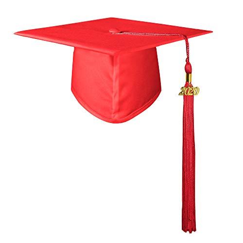 GraduatePro Erwachsene Abschluss Hut Doktorhut Studentenhut mit Quaste 2020 Jahreszahl Anhänger für High School & Bachelor Rot