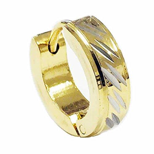 (E) リングピアス フープピアス サージカルステンレス316L メンズ 中折れ ゴールド 金色 シルバー 1個販売 片耳用 シングルピアス ラメ キラキラ