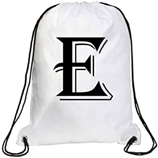IMPRESS Drawstring Sports Backpack White with Algerian Letter E