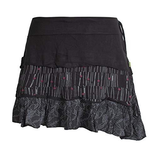Vishes - Alternative Bekleidung - Asymmetrischer Damen Baumwollrock mit Rüschen Taschen und Blümchen schwarz 38