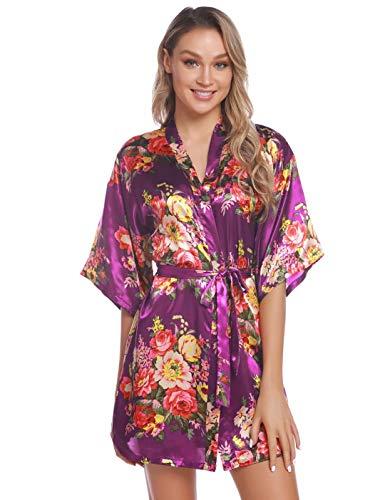 Aiboria Damen Morgenmantel Kimono Satin Kurz Robe Schlafanzug Mit Blumen Bademantel Nachtwäsche V Ausschnitt Mit Gürtel