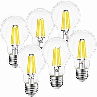 Fusheng Dimmable E26 led Bulbs 6W Replace Tradition Bulb 60W, A19 Led Light Bulbs 120V LED Filament 4000K Clear Glass 600LM UL Listed 6 Pack 360° Daylight