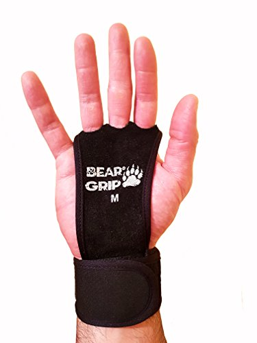 Crossfit-Handflächenschutz von Bear Grip, Leather Black 3 Hole integrated Wrist Wrap, Large
