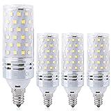 E12 Corn LED Light Bulbs 16W Candelabra LED Bulbs(4 Pack)-80 LEDs 2835 SMD 1500LM 6000K Daylight White 100W Equivalent,E12 Base Chandelier Decorative Bulbs for Ceiling Fan,Home Lighting (White)