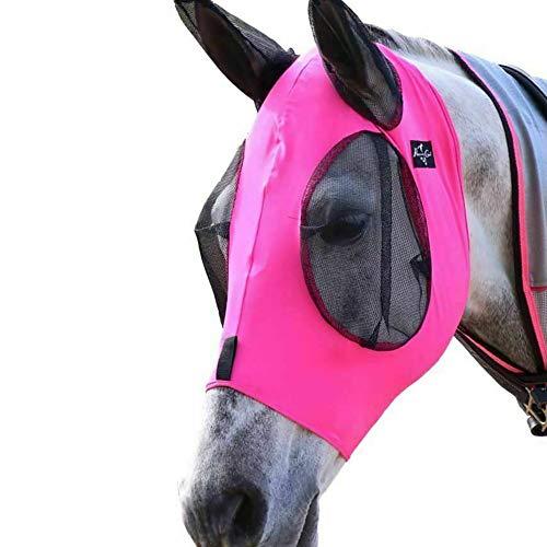 Gaosheng - Máscara antimoscas para caballos con orificios para las orejas de licra y malla, extracómoda y con ajuste suave