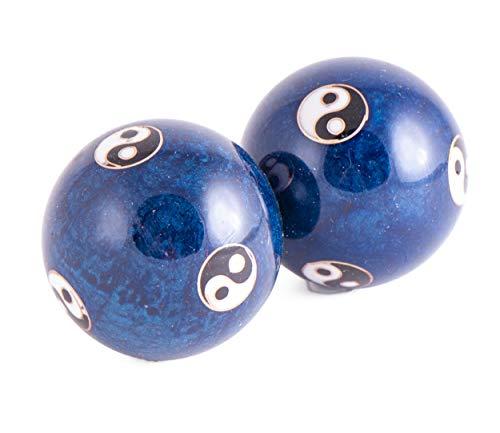Qi-Gong - Palline da meditazione Yin Yang blu con suoneria, 2 pezzi, 4 cm, con scatola, per meditazione