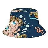 Brand Free Patrón sin costuras con flores y pájaros cubo sombrero verano viaje poliéster plegable playa sombrero de sol al aire libre
