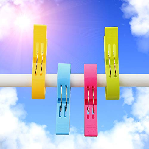 Runy Pinzas de plástico para Ropa, 4 Unidades, tamaño Grande, Pinzas para Ropa de lavandería, tendedero, Pinzas de sujeción para Toalla de Playa