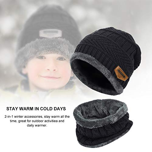VBIGER Kids Warm Knitted Beanie Hat and Circle Scarf Set for Boys and Girls Aged 4-10