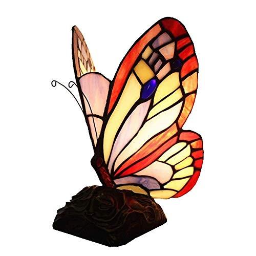 QXinjinxtd Lámparas para Habitaciones Gran lámpara de Mesa Mariposa del vitral, Ojo-protección, Soporte de Resina de la lámpara, lámpara de Escritorio Creativa, Mesa de iluminación Luces de la Noche,