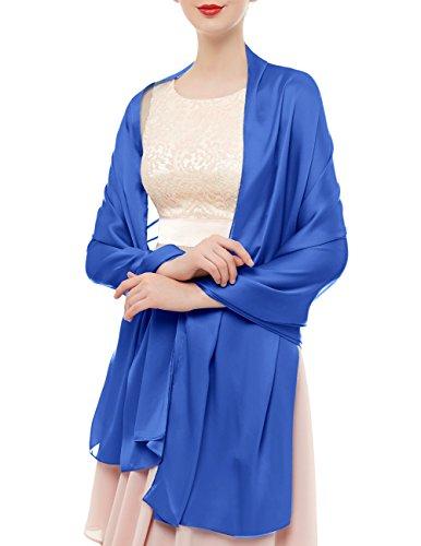 bridesmay Seide Halstuch 180 * 90cm Stola Schal Seidenschal Festlich Hochzeit für Kleider in verschiedenen Farben Royal Blue