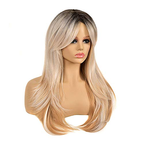 Long Curly Wigs with Curtain Bangs Synthetic Wigs for Women 20inch Dark Root Light-Blonde mixed White Color Heat Resistant Fiber Wigs for Daily Party Cosplay Use
