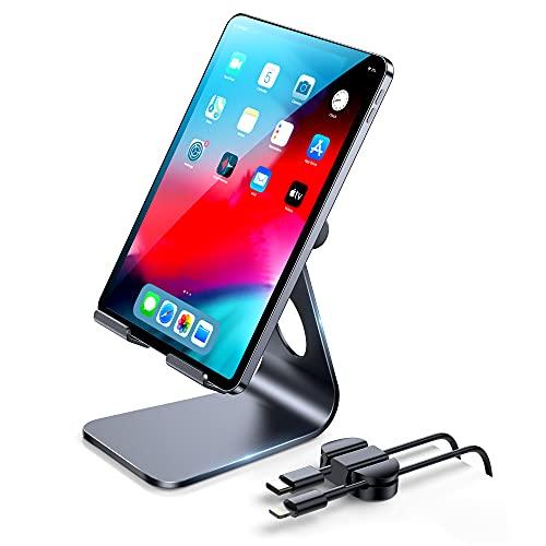 Soporte para tablet ajustable con clips de cable, ECASA Soporte de escritorio compatible con tableta, iPad Pro/Air Mini, iPhone 12 Mini/12 Pro Max/11, samsung, Kindle, Nexus, Tab, E-Reader (4-13'')