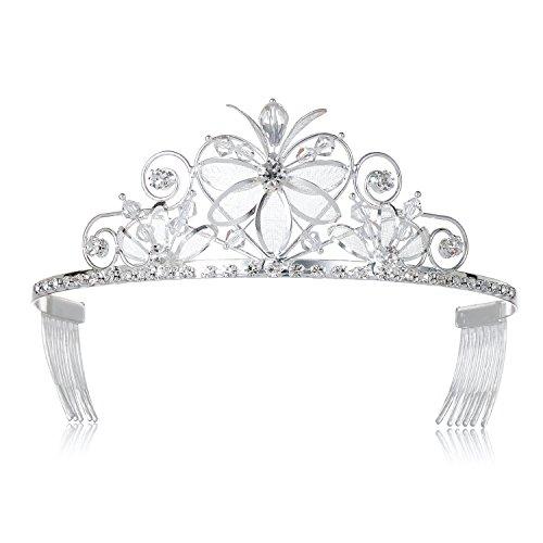 DcZeRong Girls Birthday Princess Tiara Crown Costume Prom Tiaras Crowns Silver Tiara Crown Women Birthday Queen Tiaras Crowns Homecoming Queen Tiaras Crowns