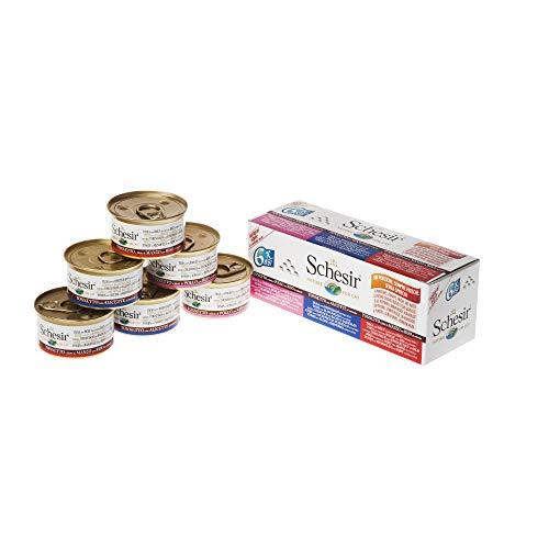 Schesir Comida Natural para Gatos húmeda con Ingredientes 100 % Naturales de atún, filetes de Vacuno, pequeñas Anchas y arroz en Varios Paquetes o como variedades Individuales (6 latas de 85 g). ⭐