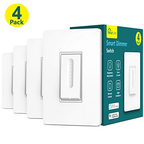 Smart Dimmer Switch, Treatlife WiFi Light Switch for Dimmable LED, Halogen and Incandescent Bulbs, Compatible with Alexa, Google Assistant, Remote Control, Single-Pole, Neutral Wire Required (4 Pack)