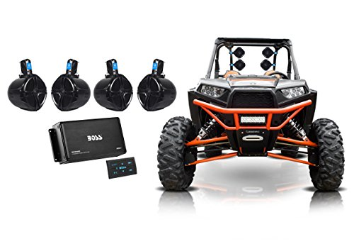 Best Prices! (4) Rockville 8 300w Tower Speakers+4-Ch Bluetooth Amp+Remote ATV/UTV/RZR/Cart