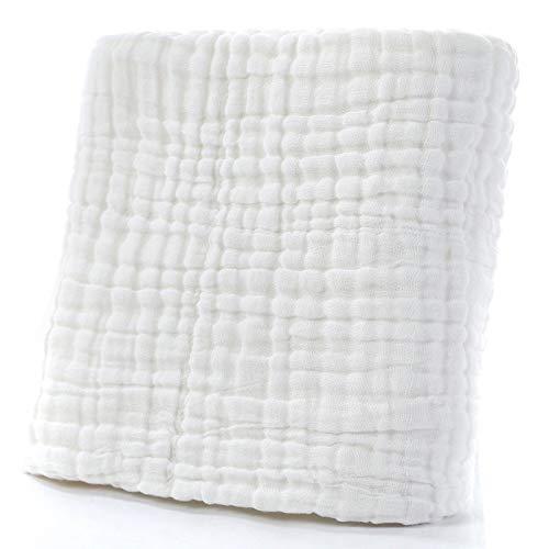 Manta de algodón de 6 capas para bebé, manta térmica de muselina sólida, manta de 110 x 110 cm, color blanco