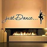 Pegatinas De Pared De Bailarina De Ballet Just Dance Para Sala De Baile, Decoración Artística Para Niñas, Para Papel Tapiz, Calcomanías De Vinilo Para Pared, Citas Para El Hogar, 126X42Cm