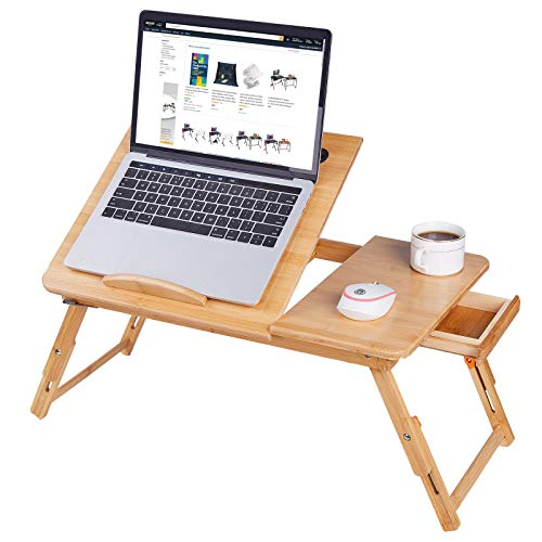 Laptop Bed Tray Multi Tasking Bamboo Lap Desk Bed Tray Table with Tilt Top, Foldable Breakfast Serving Table Standing Desk for Laptop iPad Study Writing Reading and Eating