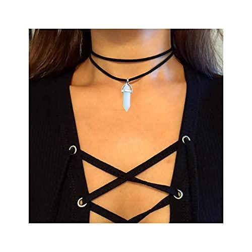 Collar Gargantilla Pulsera Toblet Goth Belvet Collar de Terciopelo Capas de Piedras Preciosas Colgantes Colgantes Collares Cadena para Mujeres y niñas