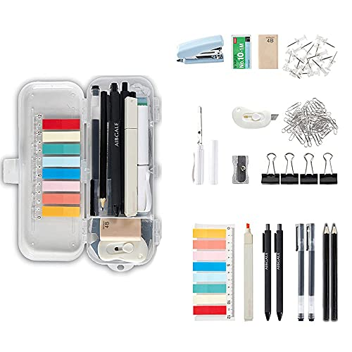 123 Pcs Office Supplies Kit with Desk Organizers, Includes Stationery, Stapler, Paper Clips, Push Pins, Erasers, Binder Clips, Staples, Scissor, Page Markers, Highlighters for Desktop Accessories Set