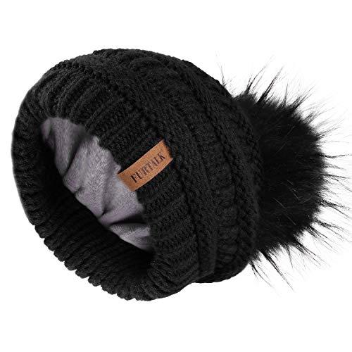 FURTALK Winter Slouchy Beanie Hats - Women Fleece Lined Warm Ski Knitted Pom Pom Hat