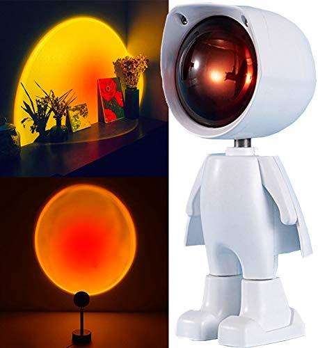 Lámpara de Halo de Arco Iris de Puesta de Sol para Niños Y Adultos - Proyector de Luz LED Nocturna - Proyección de Lámpara de Puesta de Sol de Rotación de 360 Grados (Color : Sunset Red)
