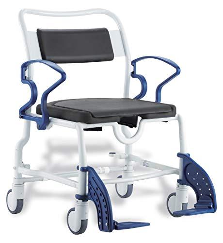 FabaCare Dusch- Toilettenrollstuhl Dallas XXL, bis 200 kg, made in Germany, Premium Toilettenstuhl, Duschstuhl fahrbar, Rollstuhl mit WC Eimer, Grau-Blau, Grau-Blau