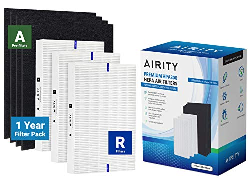 Honeywell HPA300 Compatible HEPA Air Purifier Filters by Airity | Includes 3 HEPA R Filters & 4 Carbon Prefilters | Honeywell Compatible Replacement for Honeywell Filter R and Honeywell Prefilter A