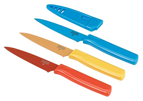 Kuhn Rikon Straight Paring Knife with Safety Sheath, 4 inch/10.16 cm Blade, Set of 3, Red, Yellow & Blue