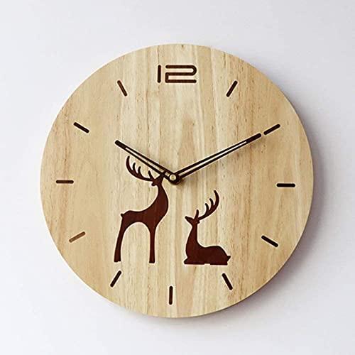 TEPET Reloj de Pared de Madera Maciza de Estilo Rural Moderno marrón Color de Golpe Movimiento silencioso con Incrustaciones de Nogal Negro 30 * 30