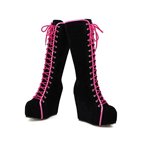 GHqY Frauen-Absatz-Schuhe, Kinder von Martin Stiefel, Lang Over-The-Knie-Aufladungen, Frauen-europäische und amerikanische Lace-Up Wedges,43