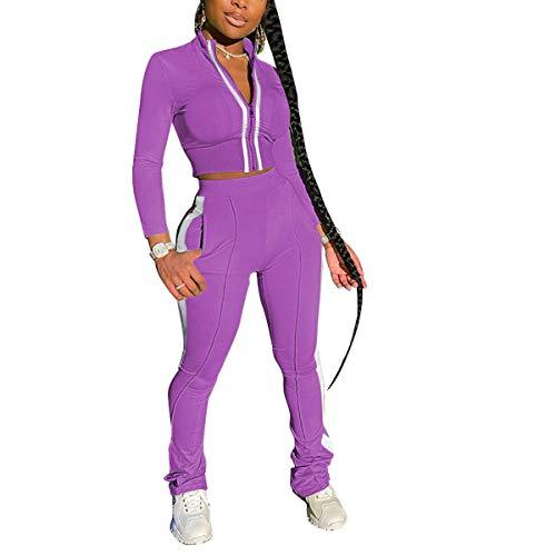 Mrskoala Women's 2 Piece Tracksuit Sets Sweatsuits Outfits Full Zip Sweatshirt and Jogging Sweatpants Set Purple L