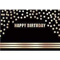 Assanu 7×5フィートハッピーバースデービニール写真の背景アーチ黄金スポットライン黒背景子供赤ちゃん大人の誕生日パーティーバナーケーキスマッシュ幼稚な壁紙