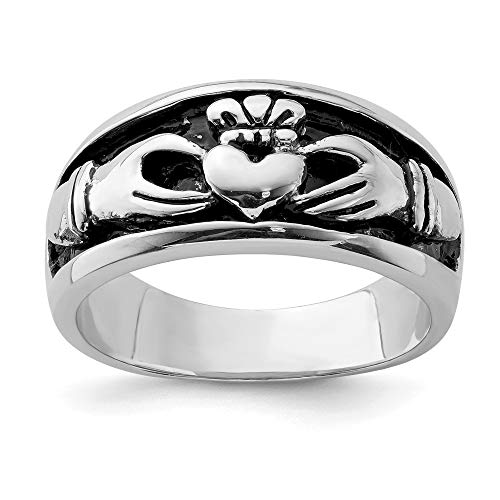 Solid 925 Sterling Silver and Vintage Antiqued Irish Claddagh Celtic Ring Band Size 8