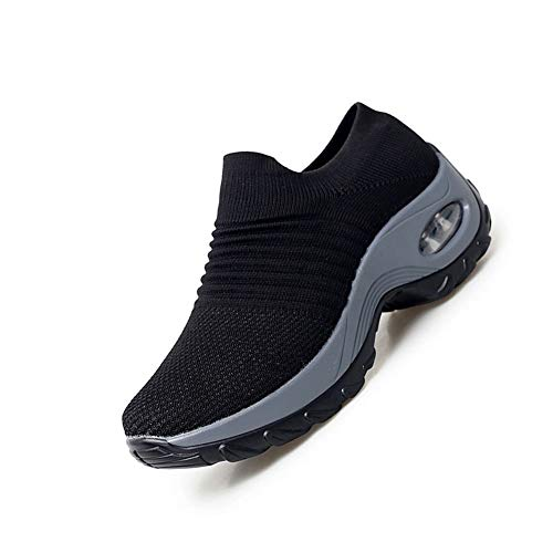 [ROVIS] ウォーキングシューズ レディーススニーカー 婦人靴 厚底スニーカー 運動靴 ナースシューズ 船型底 カジュアル スリッポン 軽量 柔軟 通気 エアクッション ソックススニーカー サイズ230ブラック