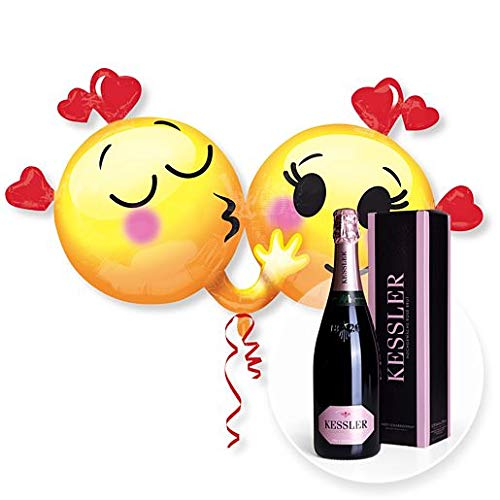 Helium Riesenballon Emojis in Love und Kessler Rose Sekt