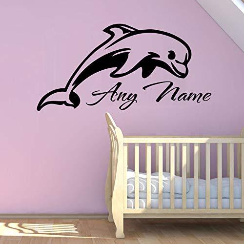 Aicedu Belle Dolfin-muursticker, motief dieren, personaliseerbaar, vinyl, voor baby's, afneembaar voor kinderkamer, maat S, 112 x 56 cm
