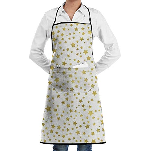 Tablier étoiles d'or avec poches pour et femmes, chef, cuisine, restaurant, barbecue, grill, pâtisserie, café