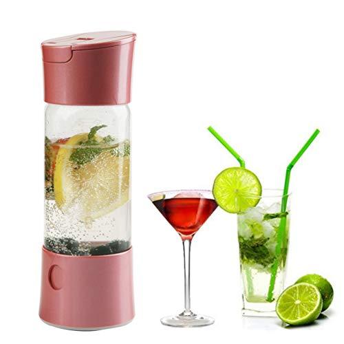 Boisson Mini Manuel Bulle d'eau Sodas Machine Portable Gazéifiée Jus Soda Maker avec Vaporiser Opération Fonction, Home Office Party Bar Utilisez Voyage,Rose